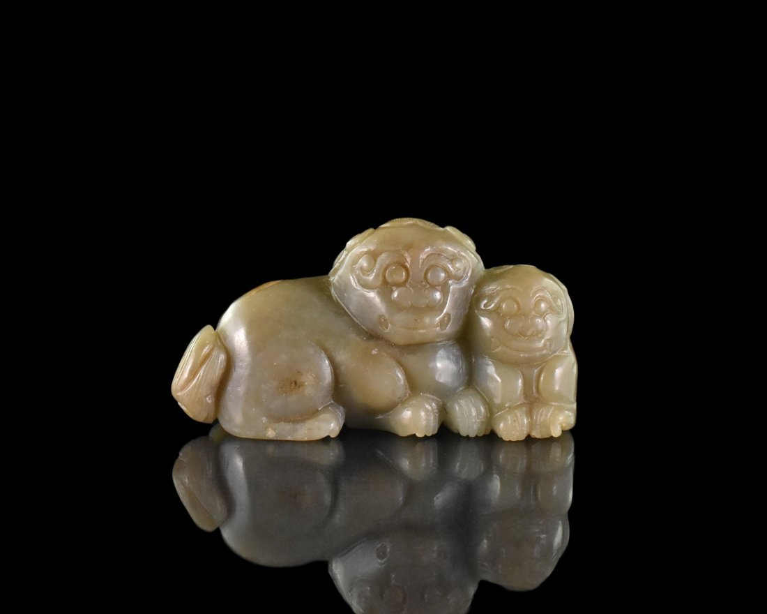 CARVED CHINESE JADE OF TIGER AND CUB
