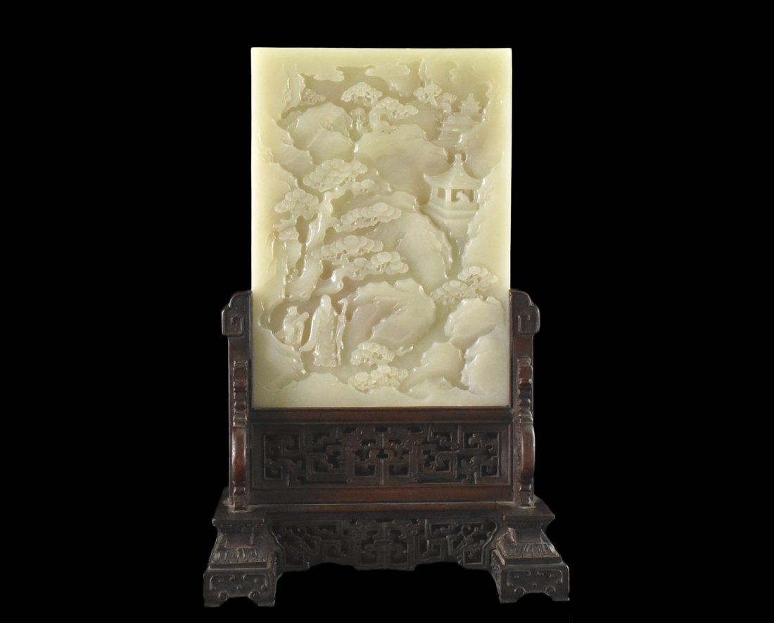FINE CARVED WHITE JADE TABLE SCREEN