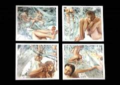 LUI LIU OIL PAINTING IN THE FOREST SET OF 4 PCS