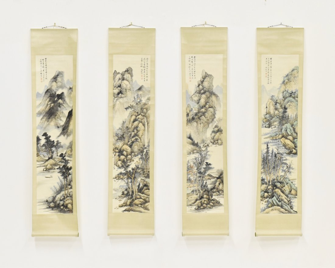 SET OF 4 PANORAMIC SCENES, CHINESE WATERCOLOR PAINTING
