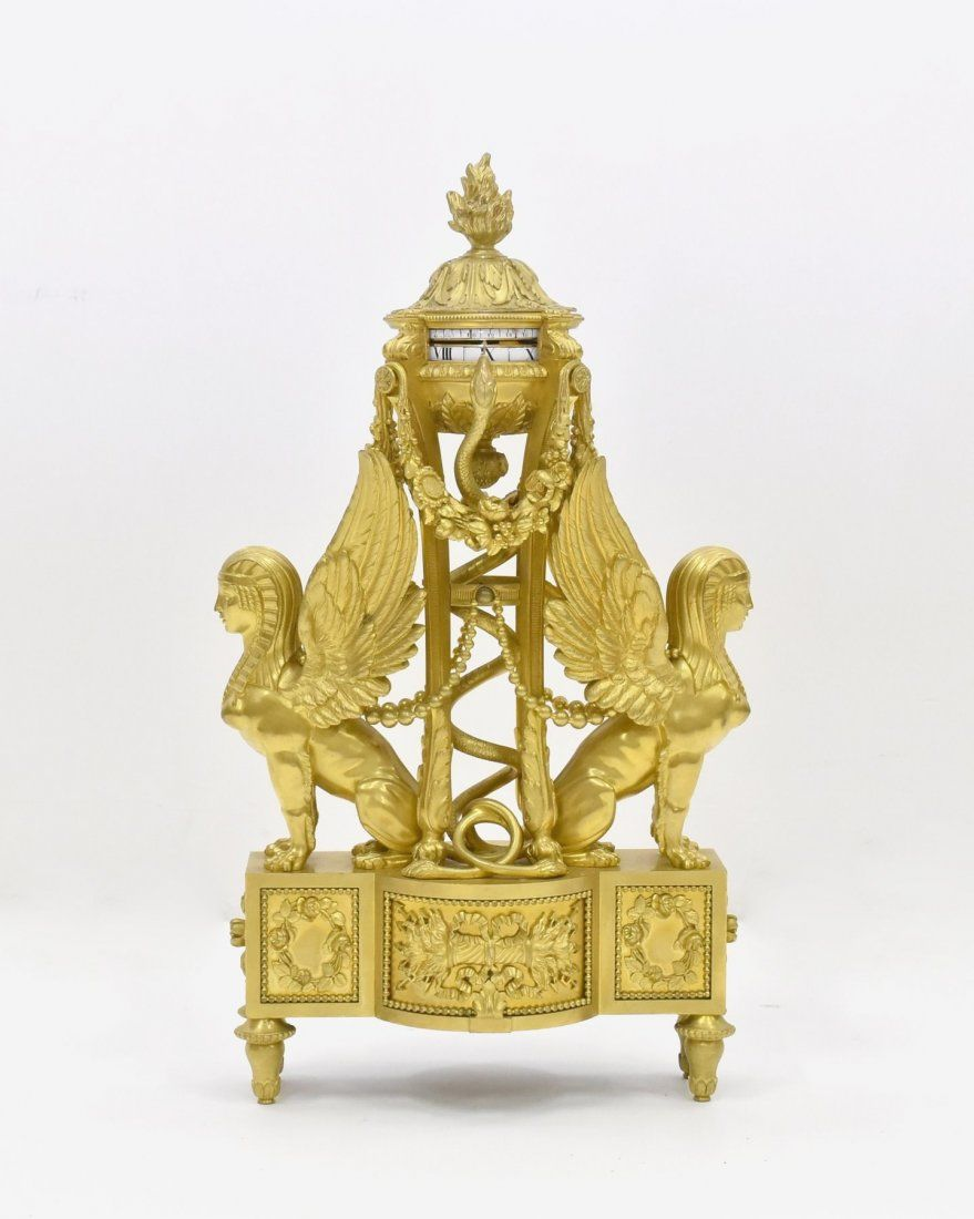 19TH C. FRENCH GILT BRONZE ANNULAR CLOCK WITH SPHINX