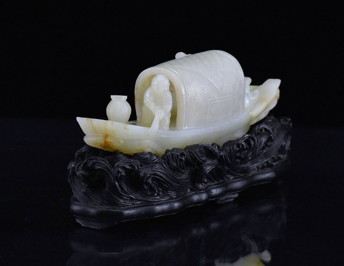 A CARVED CHINESE JADE MODEL OF FIGURES ON BOAT - 2