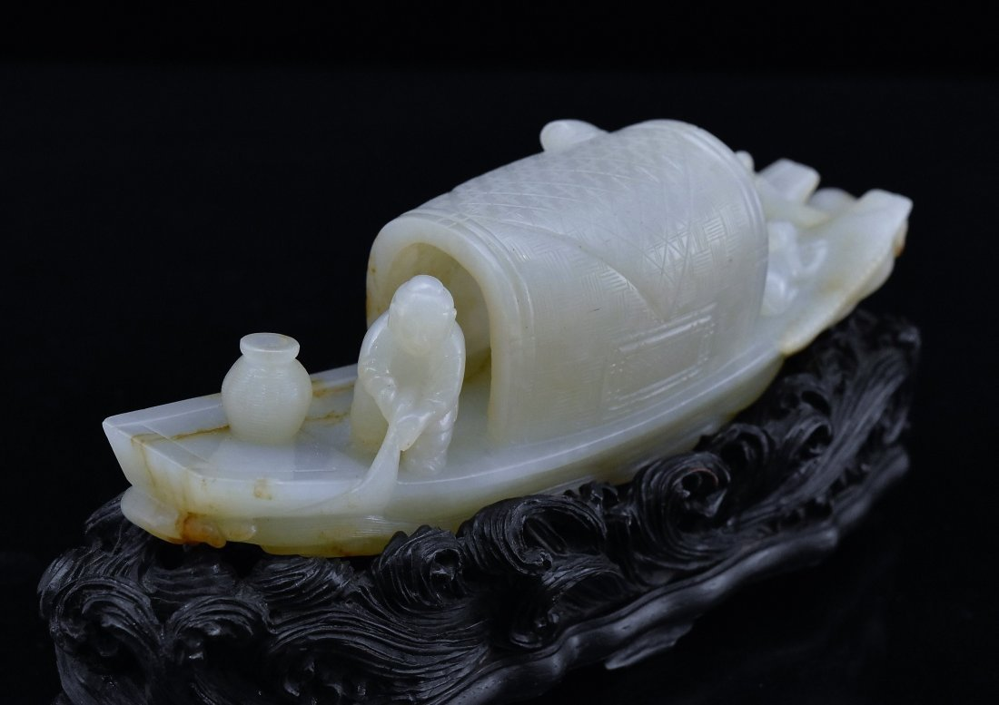 A CARVED CHINESE JADE MODEL OF FIGURES ON BOAT - 7