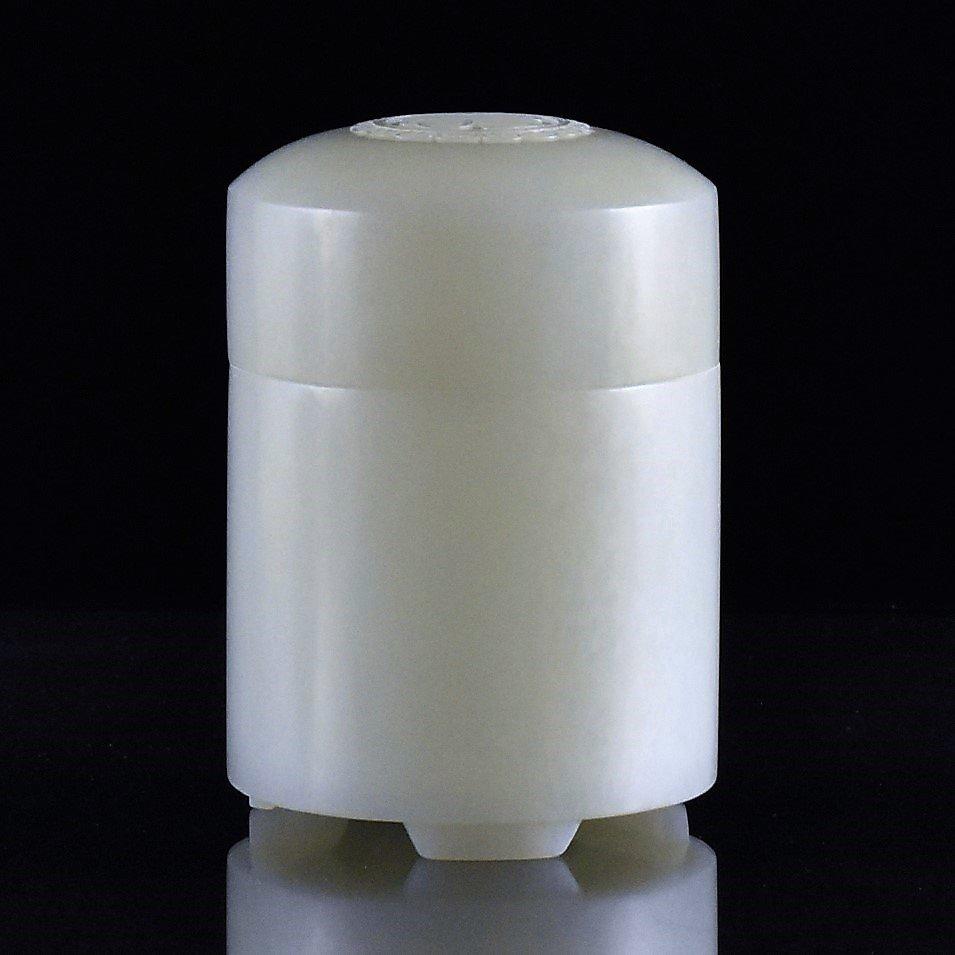 CHINESE WHITE JADE  LIDDED  JAR