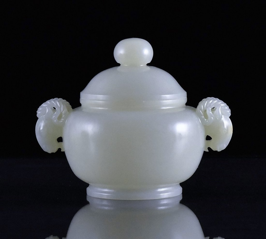 JADE COVERED CENSER WITH SHEEP HANDLES - 3