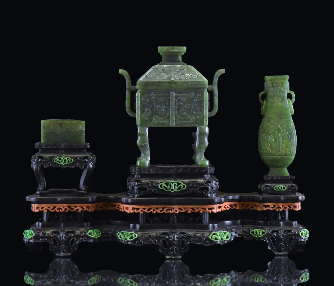 SET OF 3 SPINACH GREEN JADE CENSER, URN, AND BOX