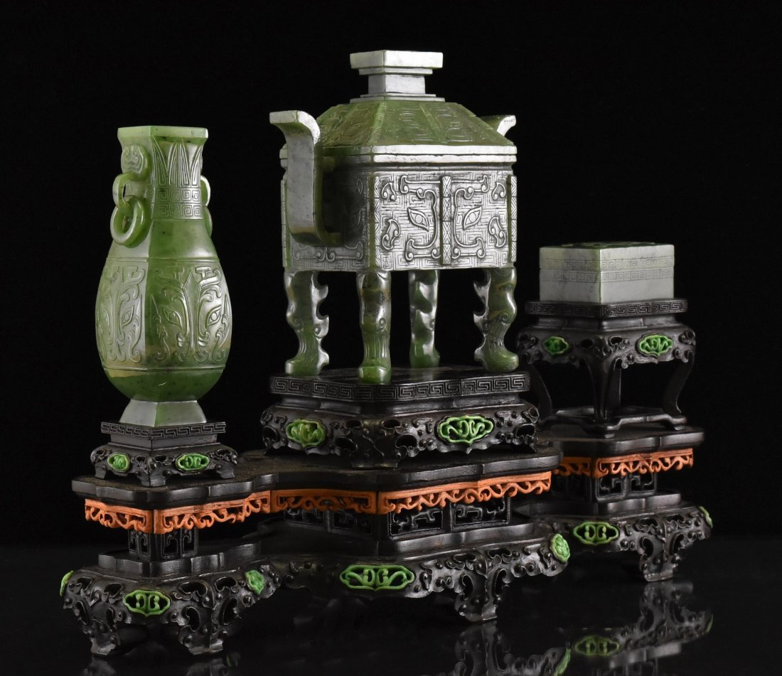 SET OF 3 SPINACH GREEN JADE CENSER, URN, AND BOX - 3
