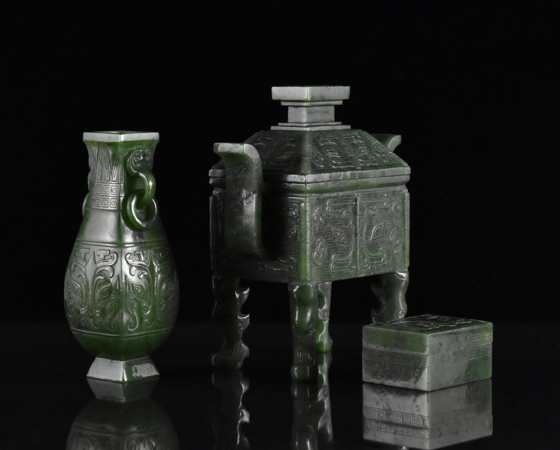 SET OF 3 SPINACH GREEN JADE CENSER, URN, AND BOX - 4