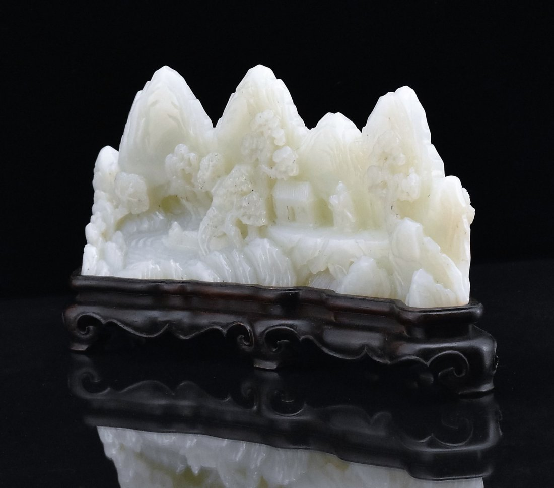 CRAVED WHITE JADE MOUNTAIN LANDSCAPE ON STAND - 3