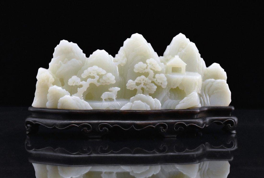 CRAVED WHITE JADE MOUNTAIN LANDSCAPE ON STAND - 4