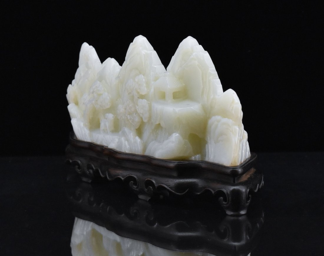 CRAVED WHITE JADE MOUNTAIN LANDSCAPE ON STAND - 5