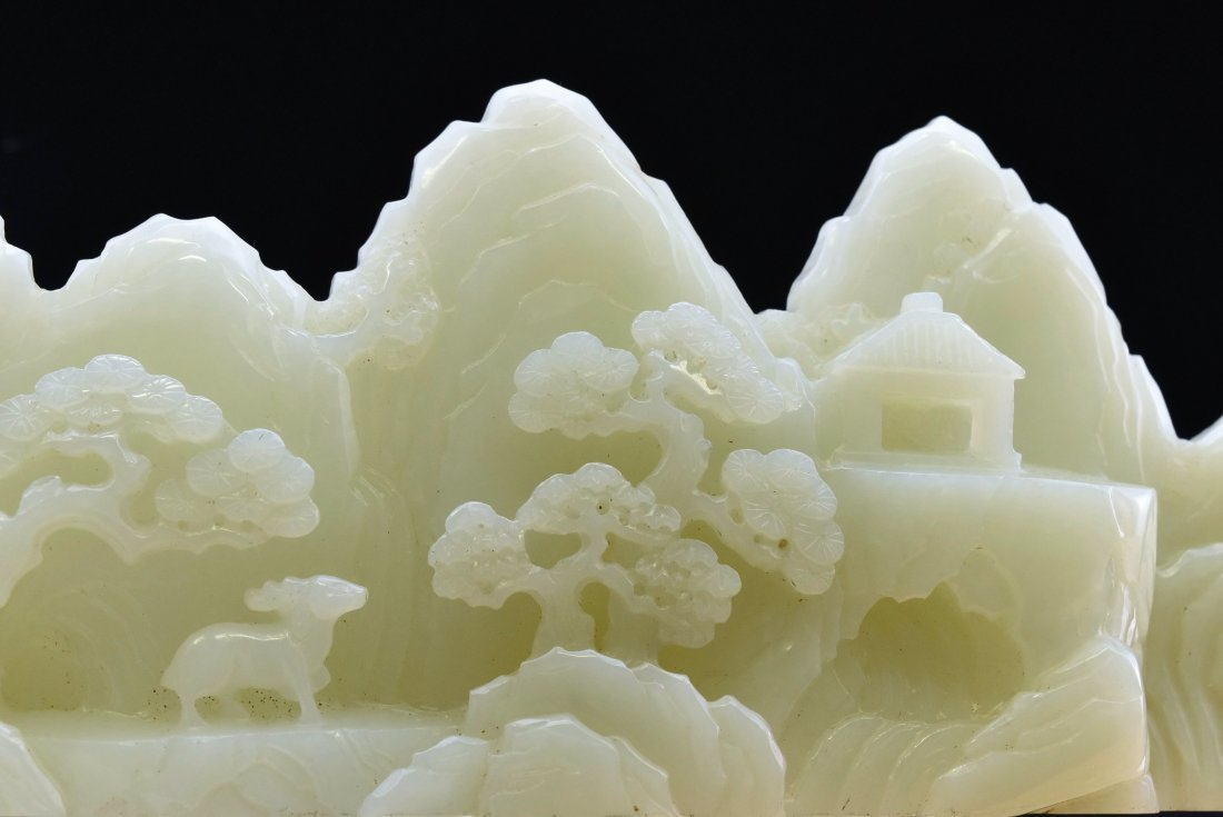 CRAVED WHITE JADE MOUNTAIN LANDSCAPE ON STAND - 9