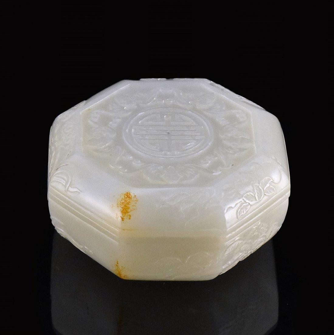 WHITE JADE OCTAGONAL LIDDED BOX