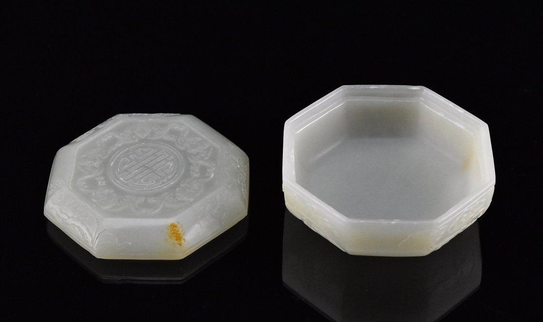 WHITE JADE OCTAGONAL LIDDED BOX - 2