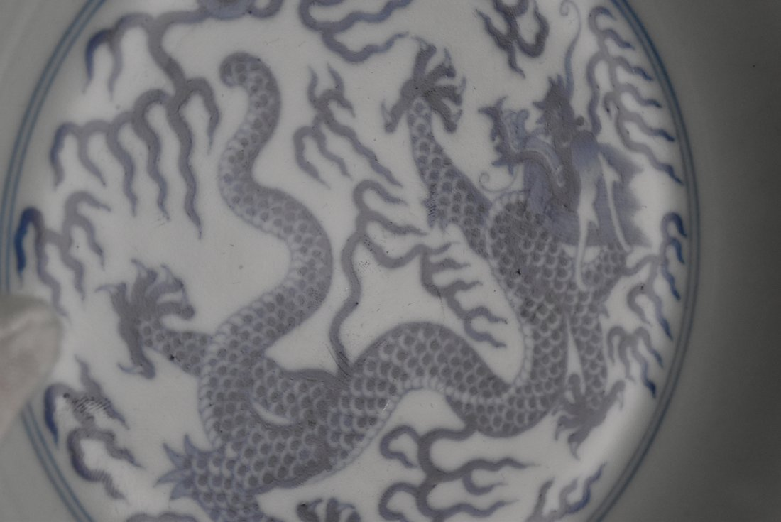 PAIR OF BLUE AND WHITE DRAGON PLATE - 10