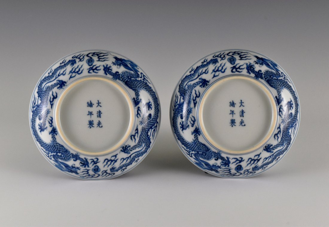 PAIR OF BLUE AND WHITE DRAGON PLATE - 2