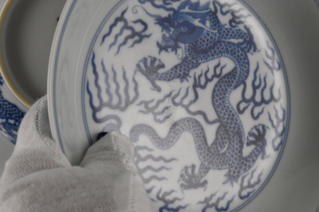 PAIR OF BLUE AND WHITE DRAGON PLATE - 5