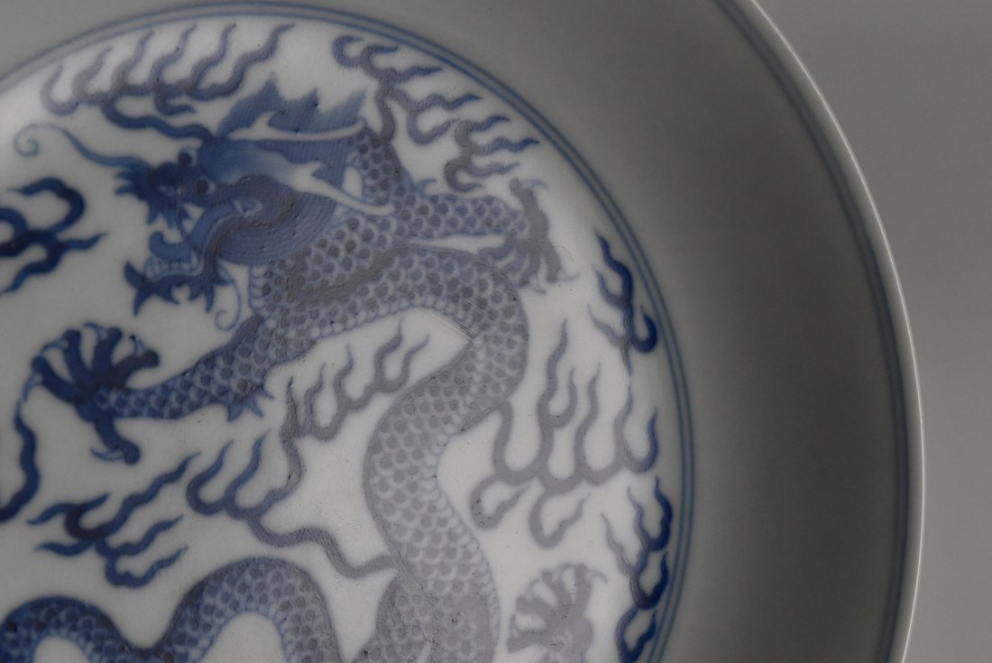 PAIR OF BLUE AND WHITE DRAGON PLATE - 6