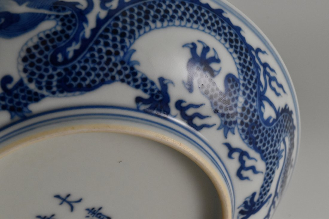 PAIR OF BLUE AND WHITE DRAGON PLATE - 8