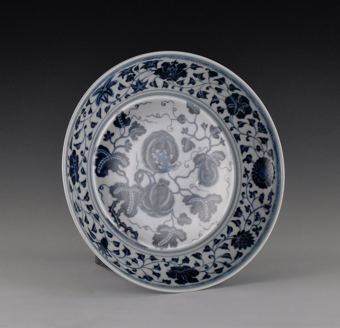 BLUE AND WHITE GOURD MOTIF PORCELAIN PLATE - 2