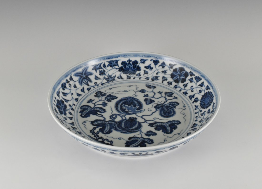 BLUE AND WHITE GOURD MOTIF PORCELAIN PLATE - 3