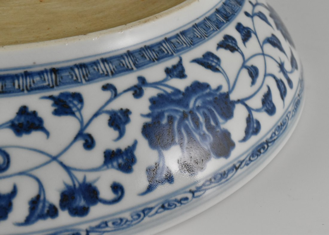 BLUE AND WHITE GOURD MOTIF PORCELAIN PLATE - 6