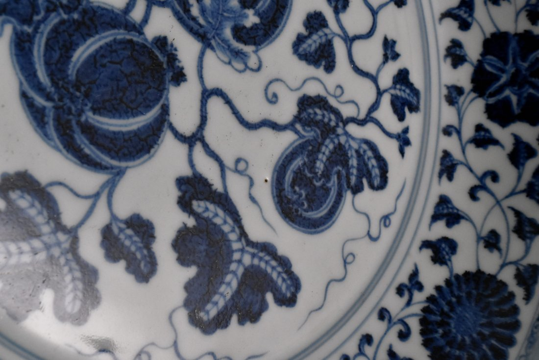 BLUE AND WHITE GOURD MOTIF PORCELAIN PLATE - 9