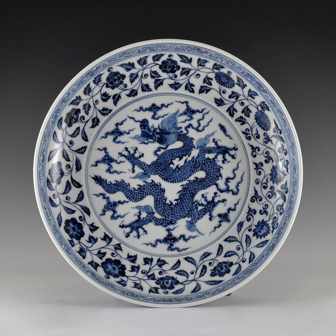 MING XUANDE PORCELAIN CHARGER IN  DRAGON MOTIF