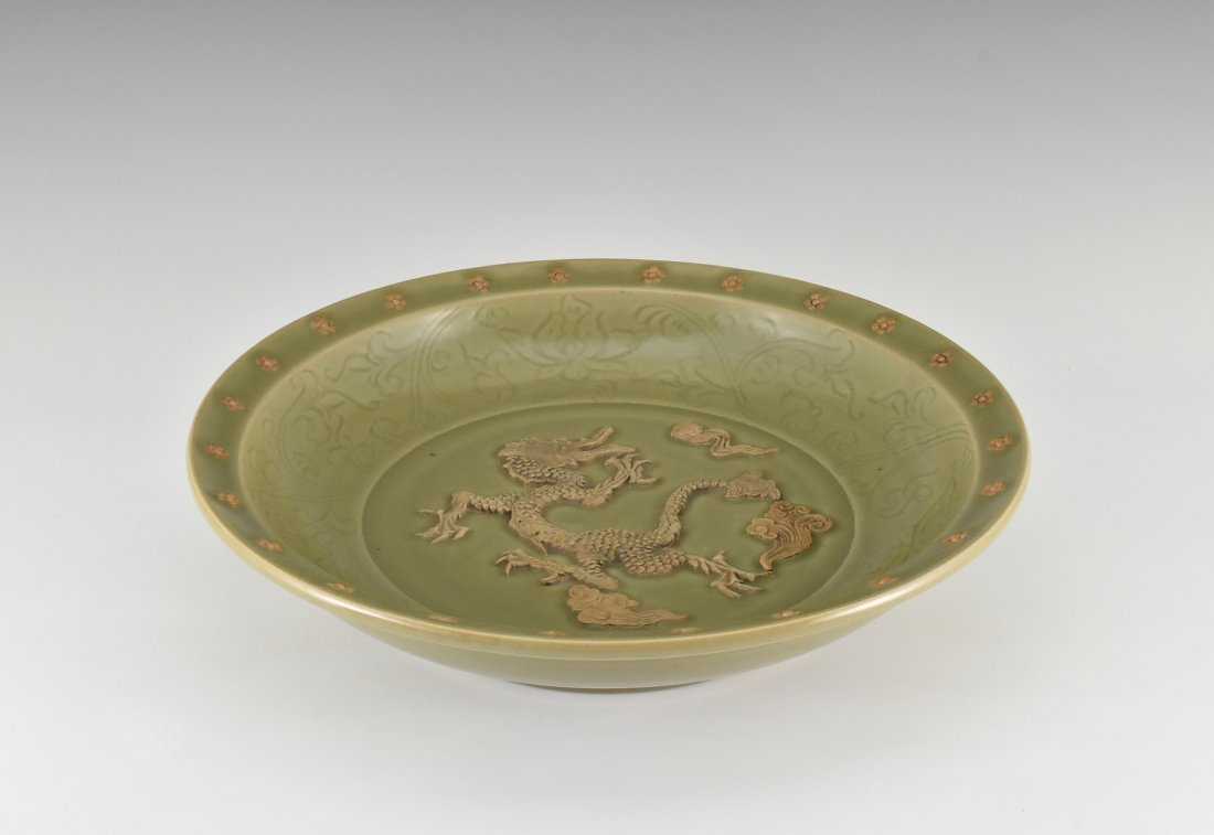 MING SPRIGGING RED DRAGON LONGQUAN CELADON CHARGER - 5