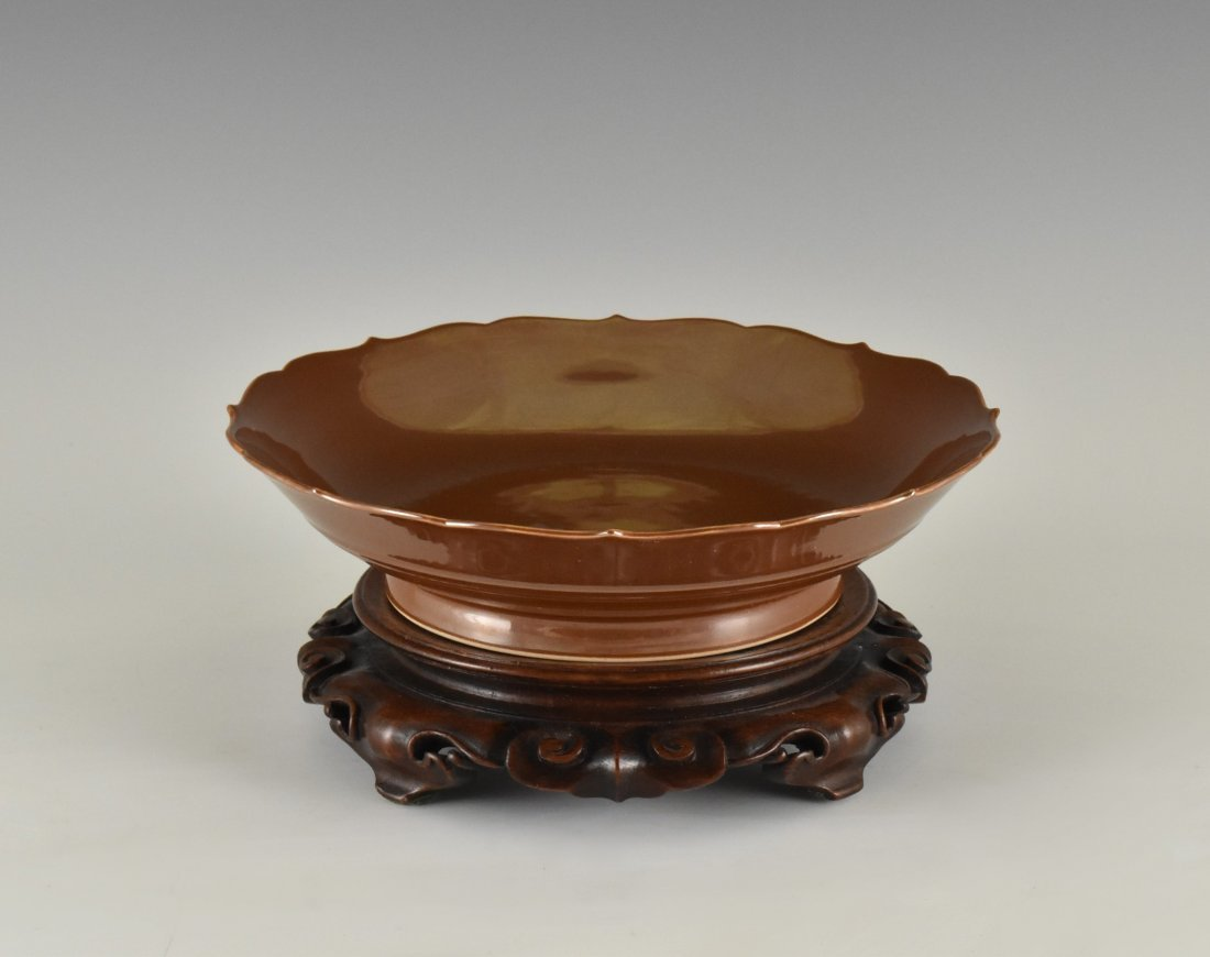 FLORI-FORM PETAL RIM COPPER-RED DISH ON STAND - 2