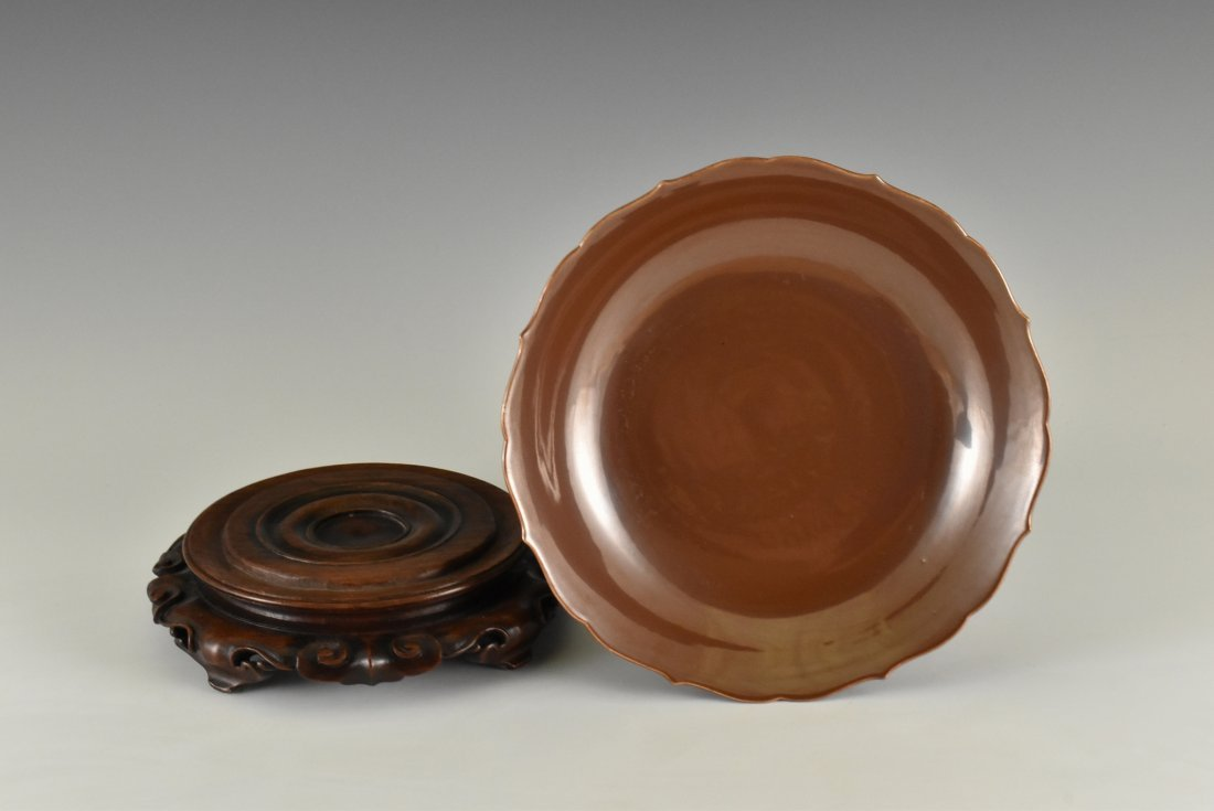 FLORI-FORM PETAL RIM COPPER-RED DISH ON STAND - 4