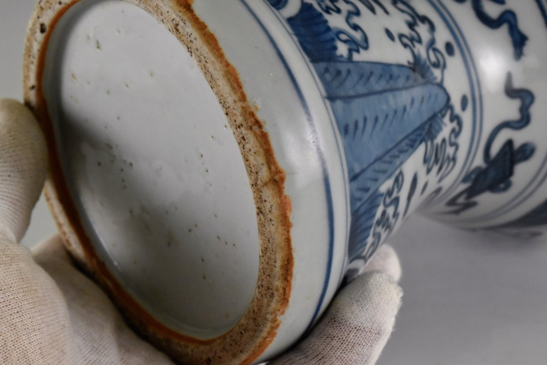 MING HIGH STEM BLUE AND WHITE MEIPING VASE - 8