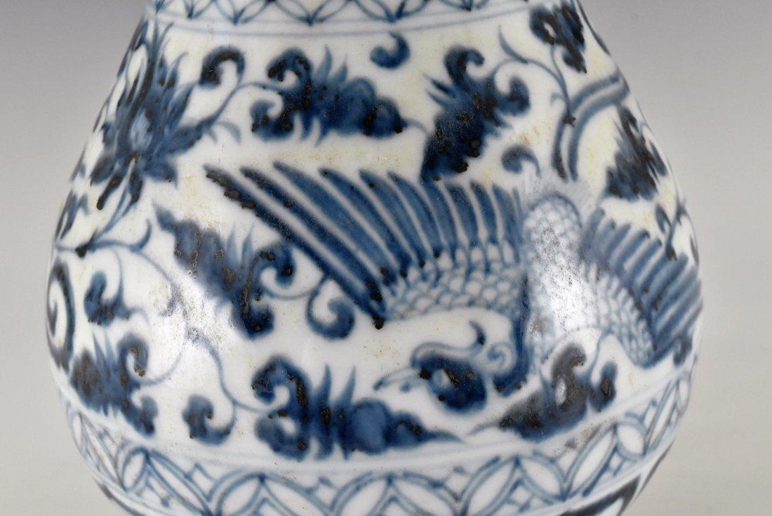 YUAN BLUE & WHITE PHOENIX  PEAR VASE, YUHUCHUNPING - 5