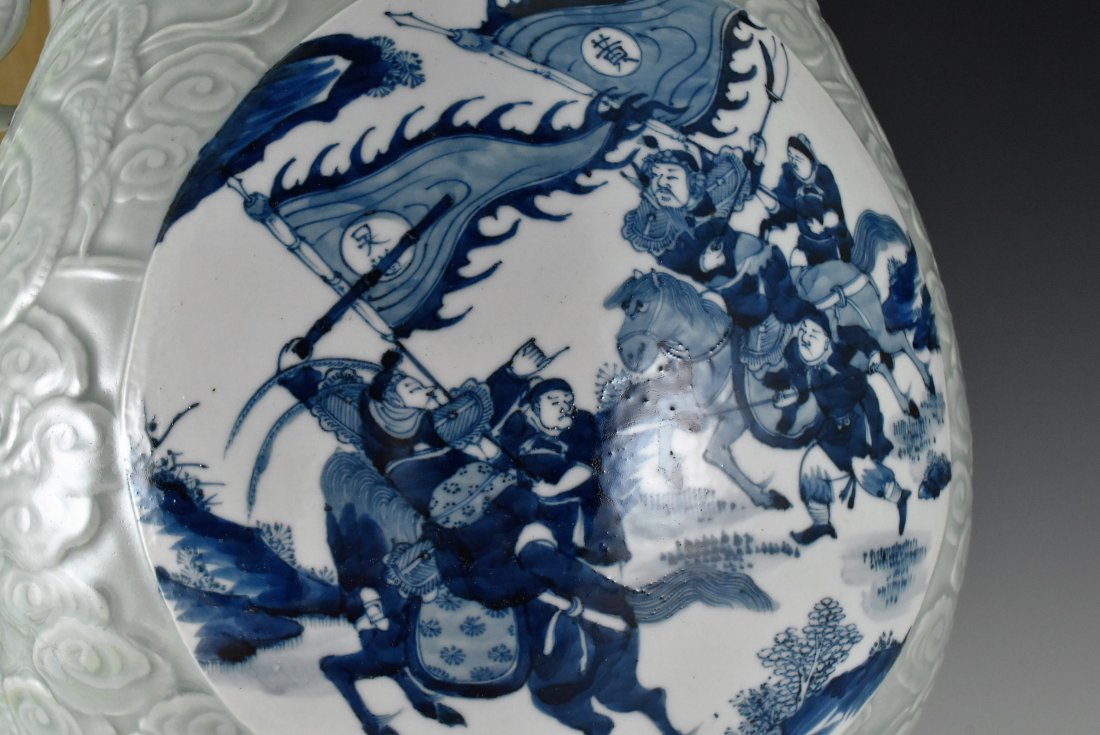 BLUE AND WHITE MEDALLION SGRAFIATTO CELADON ZUN VASE - 5