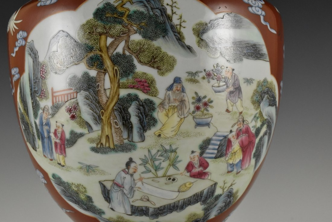 QIANLONG FAMILLE ROSE VASE ON STAND - 6