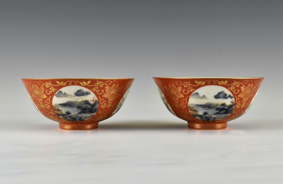 PAIR OF GILT LANDSCAPE MEDALLION ON RED GILT BOWLS