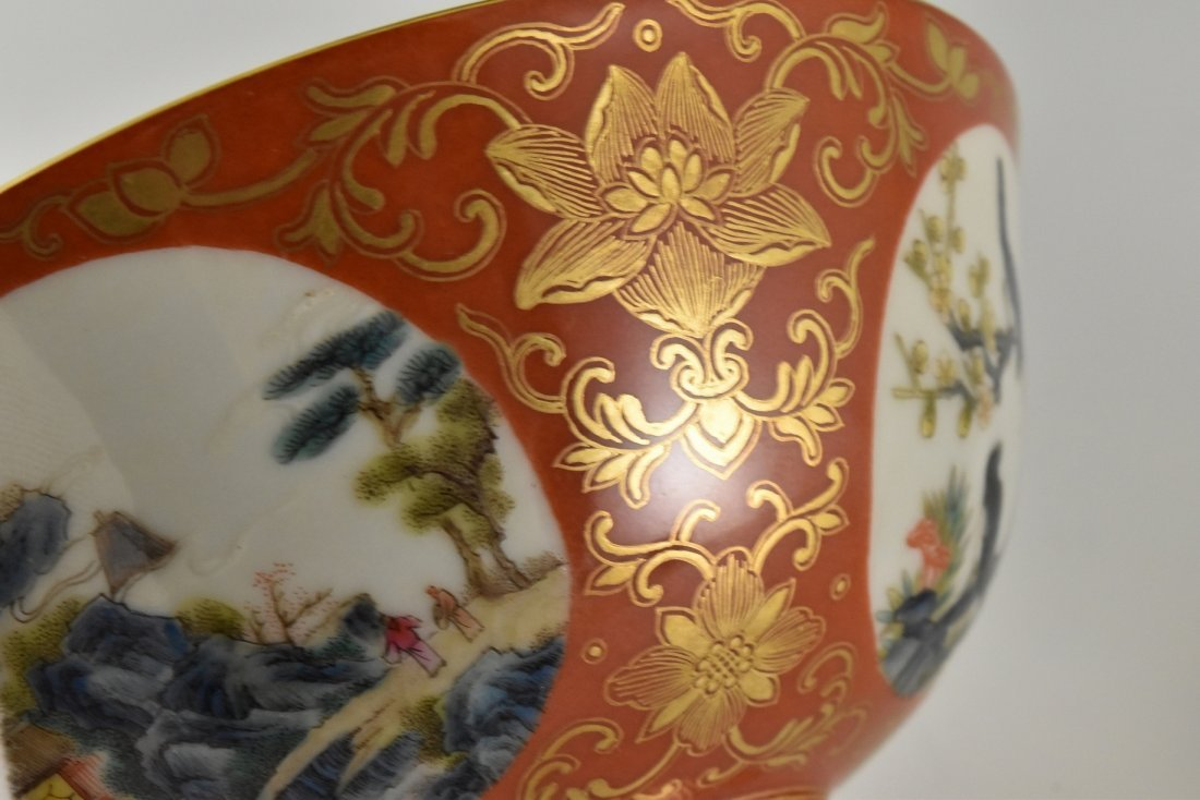 PAIR OF GILT LANDSCAPE MEDALLION ON RED GILT BOWLS - 8