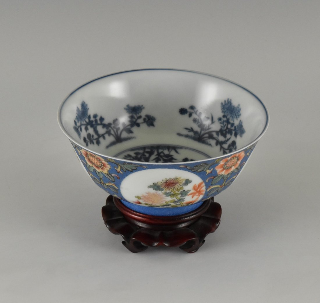 SGRAFFITO FLORAL MEDALLION BOWL ON STAND - 2