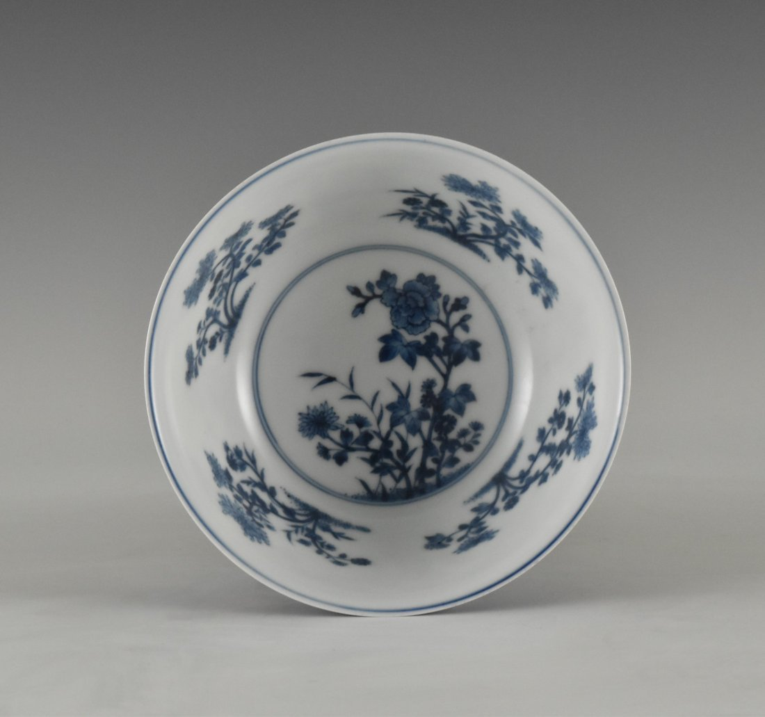 SGRAFFITO FLORAL MEDALLION BOWL ON STAND - 3