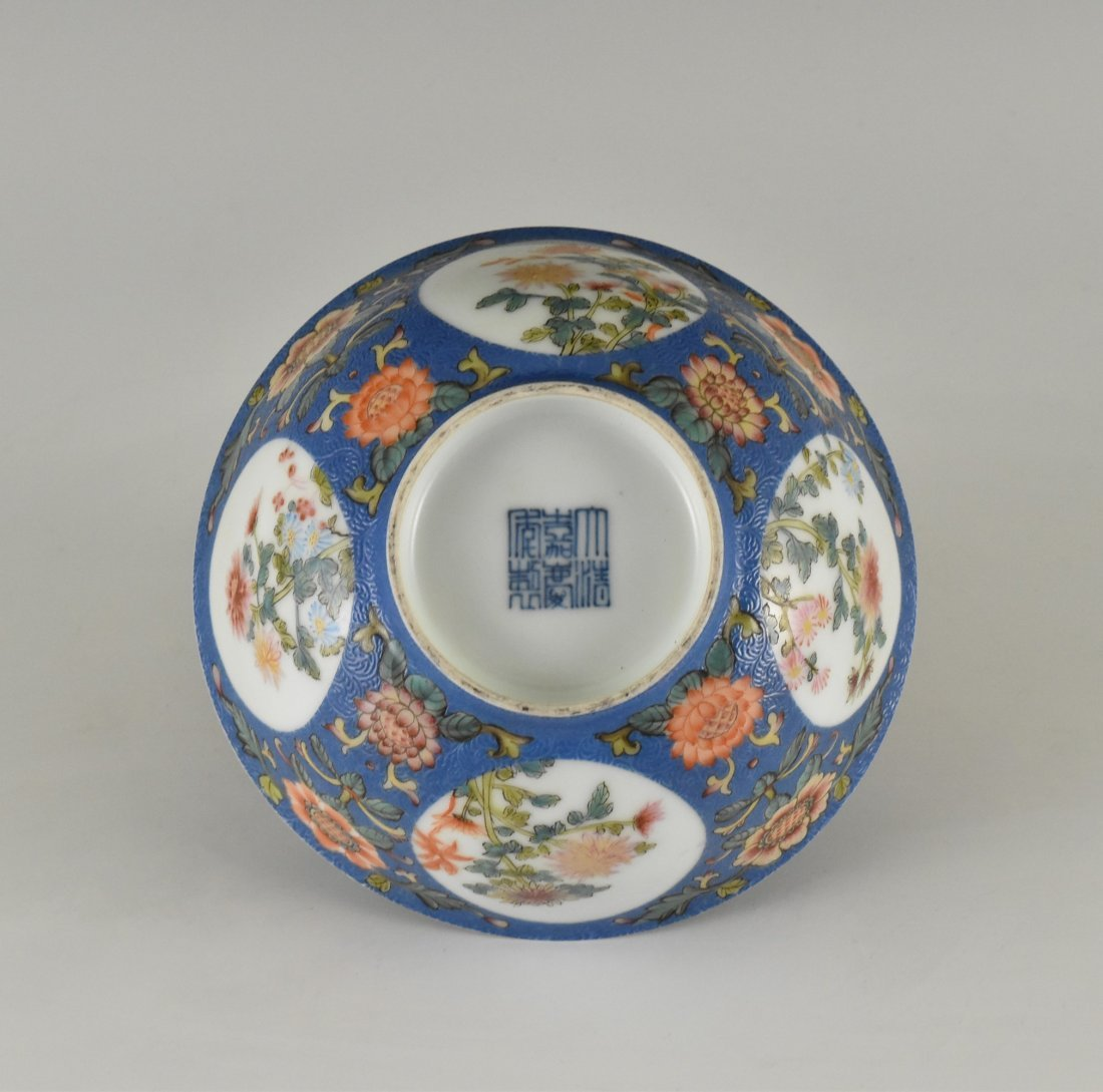 SGRAFFITO FLORAL MEDALLION BOWL ON STAND - 5