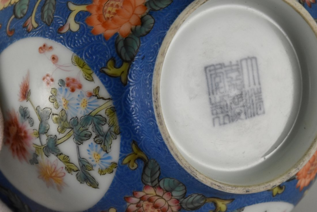 SGRAFFITO FLORAL MEDALLION BOWL ON STAND - 7