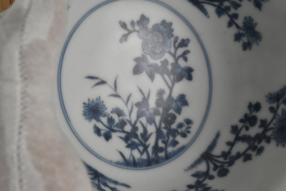 SGRAFFITO FLORAL MEDALLION BOWL ON STAND - 8