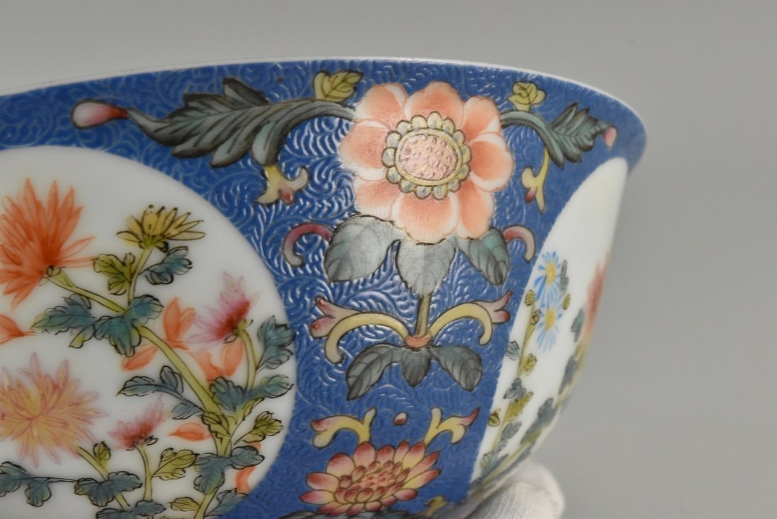 SGRAFFITO FLORAL MEDALLION BOWL ON STAND - 9