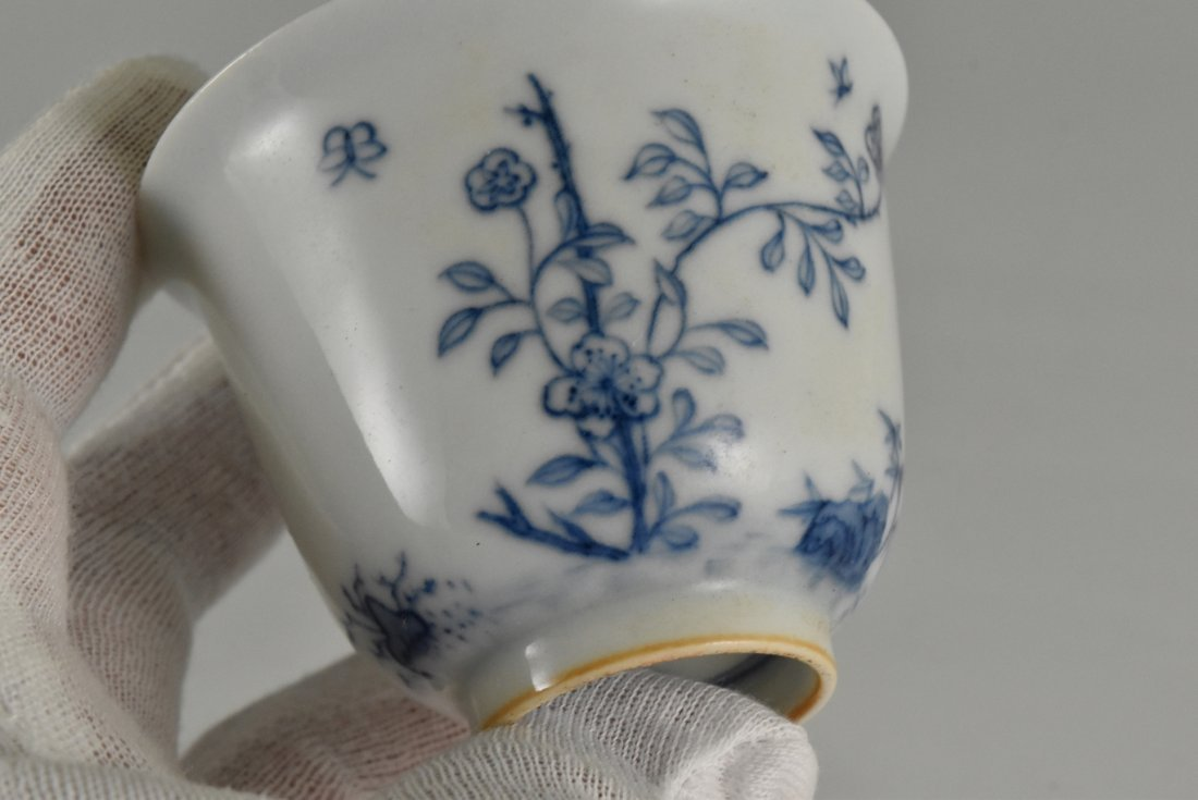 PAIR OF CHINESE MONTH PORCELAIN WINE CUPS ON STAND - 10