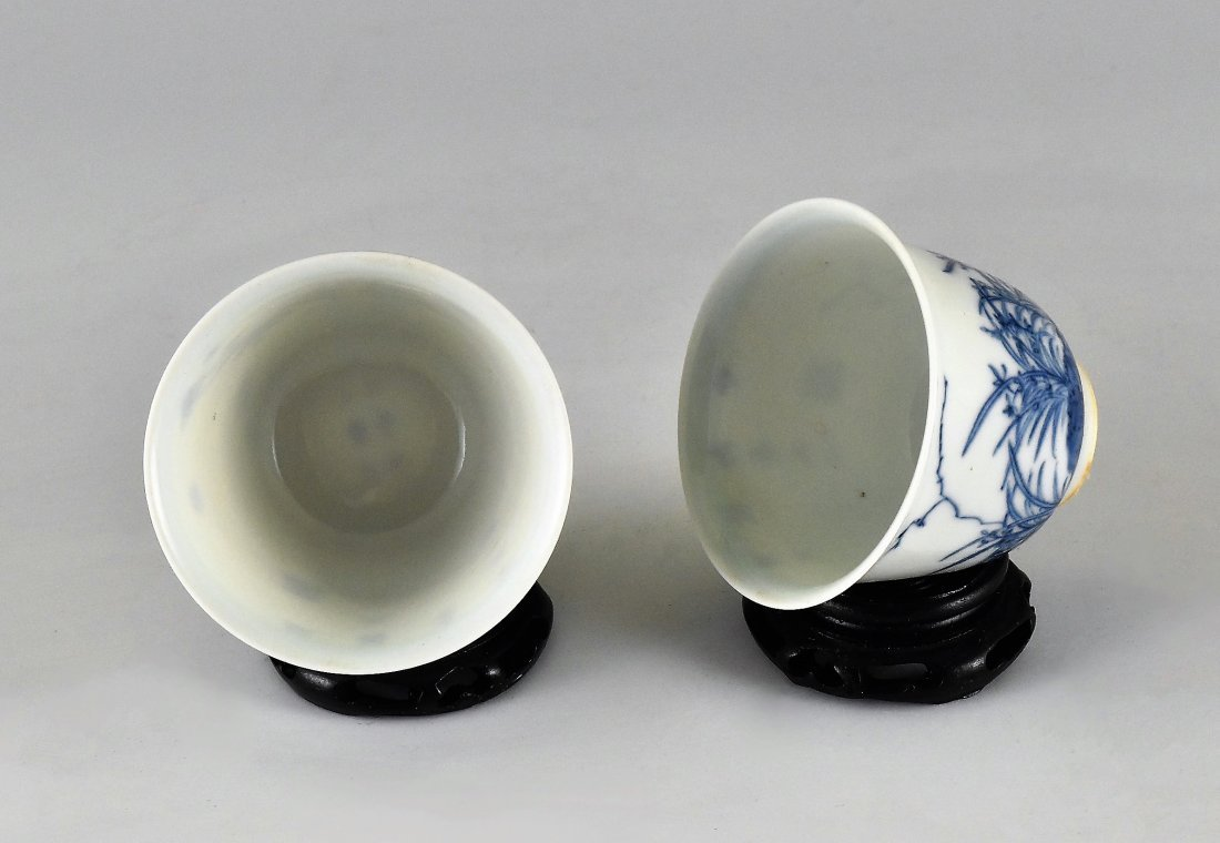 PAIR OF CHINESE MONTH PORCELAIN WINE CUPS ON STAND - 4