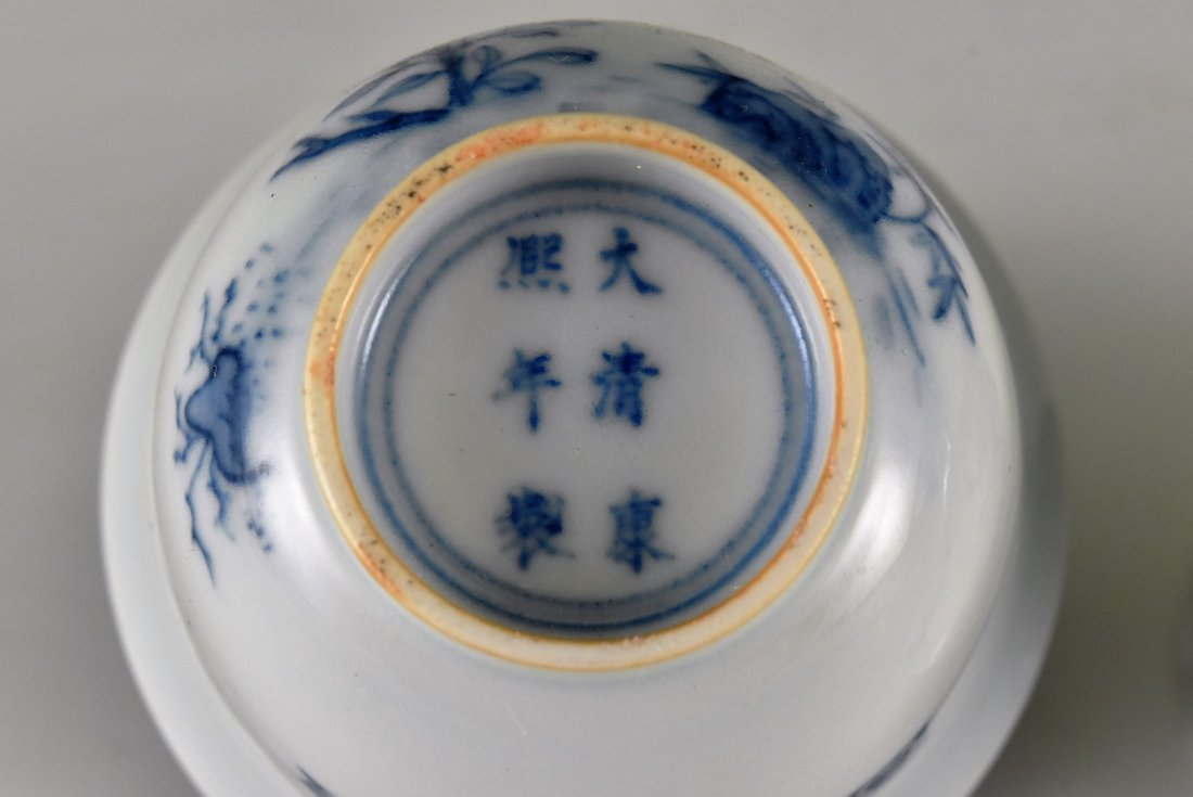 PAIR OF CHINESE MONTH PORCELAIN WINE CUPS ON STAND - 6