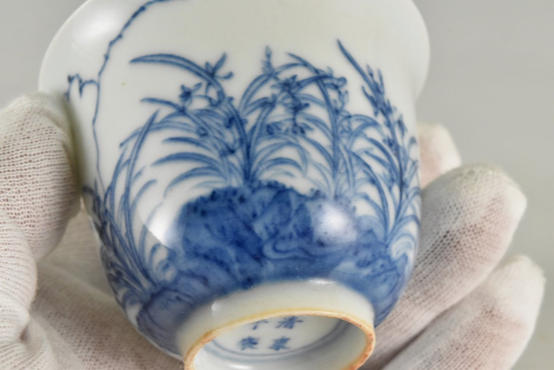 PAIR OF CHINESE MONTH PORCELAIN WINE CUPS ON STAND - 8