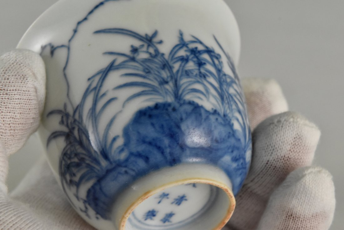 PAIR OF CHINESE MONTH PORCELAIN WINE CUPS ON STAND - 9