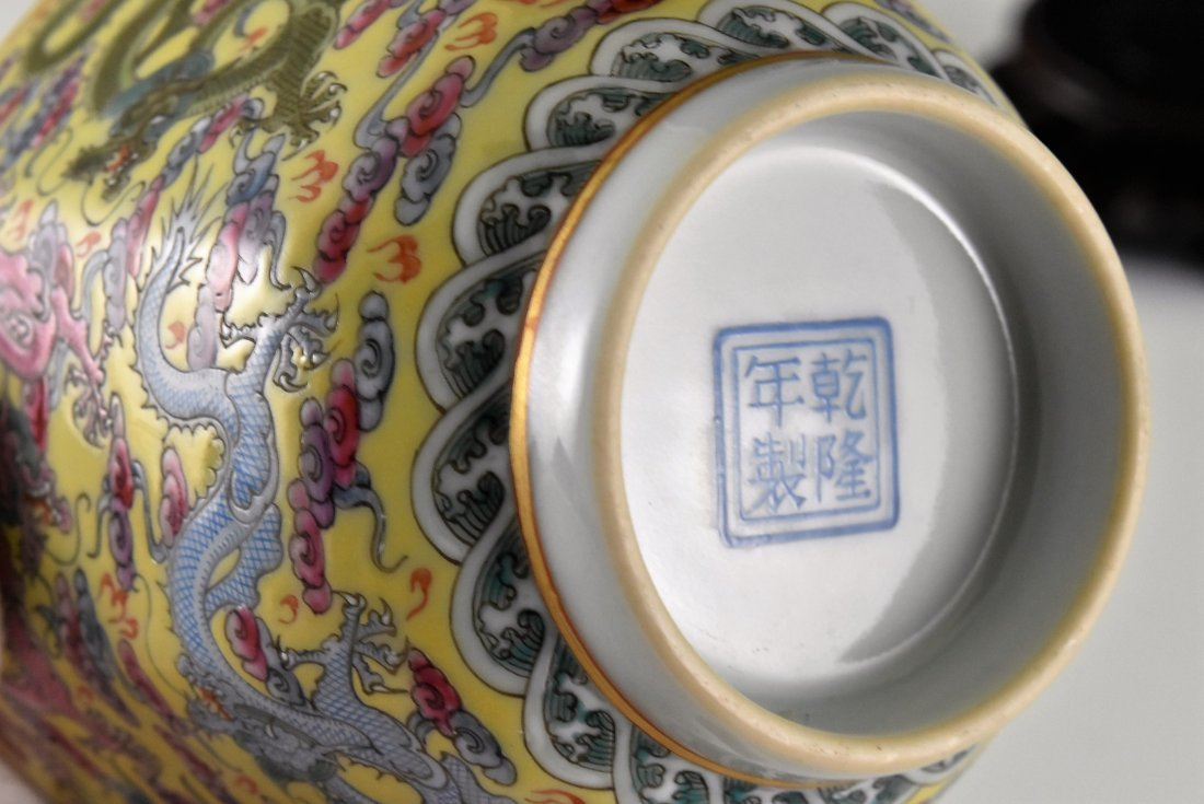FINE DRAGONS OCTAGONAL WINE CUP ON STAND - 10