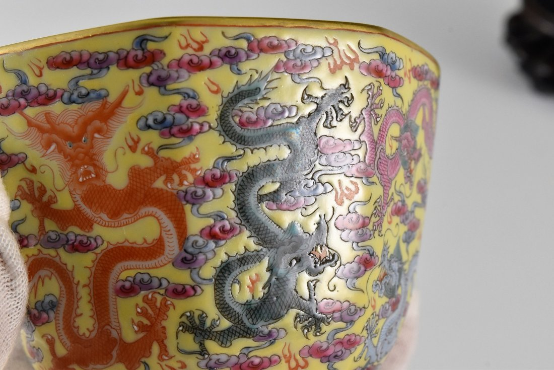 FINE DRAGONS OCTAGONAL WINE CUP ON STAND - 8